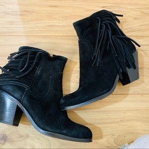 Sam Edelman ankle boots black fringe tassel
